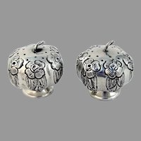 Mexican Rose Salt Pepper Shakers Pumpkin Form Sterling Silver