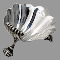 George II Onslow Shell Open Salt David Hennell Sterling Silver 1743 Crest