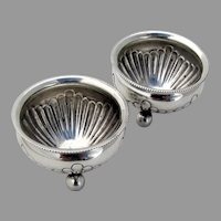 English Victorian Fluted Open Salts Pair Ball Feet Sterling Silver 1885