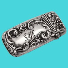 Floral Scroll Match Safe Whiting Davis Sterling Silver 1900 Mono AH