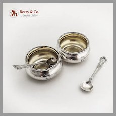 Towle Beaded Open Salts Cambridge Spoons Set Sterling Silver Mono D