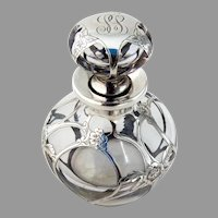 Floral Overlay Glass Perfume Bottle Gorham Sterling Silver Mono SS