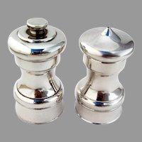 Salt Shaker Pepper Grinder Set Beaded Base Sterling Silver 1940