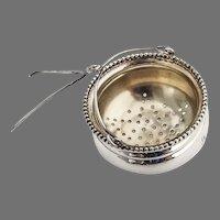 Beaded Tea Strainer Basket Gilt Interior Sterling Silver Mono J
