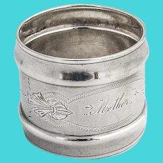 Engraved Mother Napkin Ring Gorham Coin Silver 1860