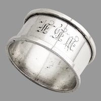 Towle Napkin Ring Applied Borders Sterling Silver Mono MHF