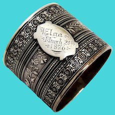 Ornate Floral Bird Napkin Ring Wendt Coin Silver 1876 Mono