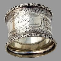 Engine Turned Napkin Ring Floral Border Coin Silver 1860s Mono Nelly