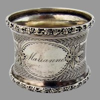 Engine Turned Napkin Ring Floral Rim Coin Silver 1860s Mono Marianne