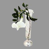 Tall Foliate Cut Glass Bud Vase Web Sterling Silver