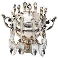 Italian Spooner Sugar Bowl 12 Demitasse Spoons Set 800 Silver 1960