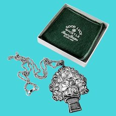 Good Luck Whistle Pendant Reed Barton Sterling Silver