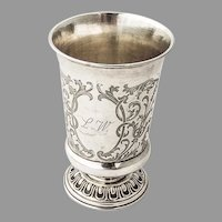 Engraved Chased Wine Beaker German 12 Loth Silver 1860 Mono LW