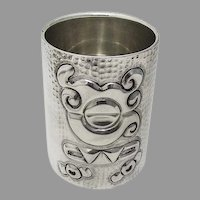 Tane Aztec Motif Beaker Extra Heavy Honeycomb Peened Sterling Silver