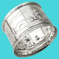 Landscape Repousse Napkin Ring Coin Silver 1865 Mono AWA