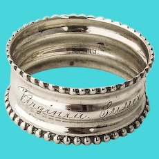Small Beaded Napkin Ring Sterling Silver 1900s Inscribed