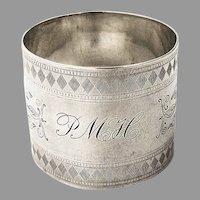 Engraved Foliate Napkin Ring Coin Silver 1880 Mono PMH
