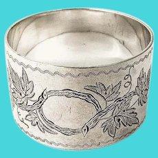 Engraved Grapevine Napkin Ring Coin Silver No Mono
