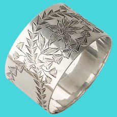 Bright Cut Engraved Floral Napkin Ring Coin Silver No Mono