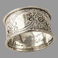 English Floral Napkin Ring William Thorneywork Sterling Silver 1899 Mono
