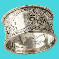 English Floral Napkin Ring William Thorneywork Sterling Silver 1899 Mono