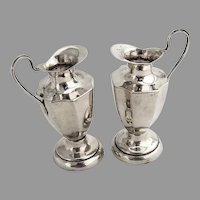 Pitcher Form Salt Pepper Shakers Set Sterling Silver Mexico