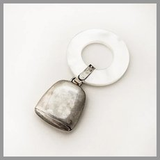 Baby Rattle Teething Ring MOP Inman Sterling Silver