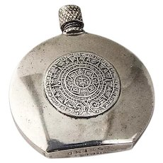 Mayan Calendar Scent Bottle Round Form Sterling Silver Mexico