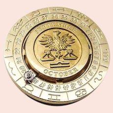 Pierre Cardin Libra Zodiac Calendar Money Clip Gold Plated
