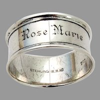 Watson Napkin Ring Applied Rims Sterling Silver Mono Rose Marie