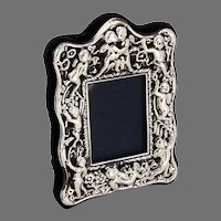 English Repousse Cherub Small Picture Frame Carr Sterling Silver 1990
