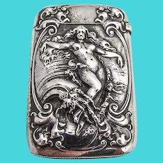 Art Nouveau Figural Match Safe Gorham Sterling Silver Mono CJH