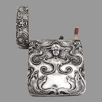 Art Nouveau Repousse Large Match Safe Sterling Silver Mono JBC