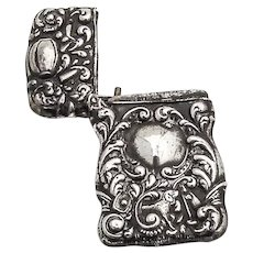 Repousse Scroll Match Safe Dog Sport Motifs Sterling Silver