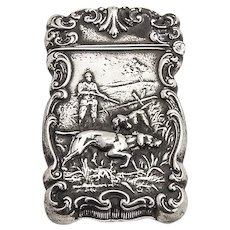 Hunting Scene Match Safe Sterling Silver Mono Olson 1907