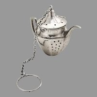 Teapot Form Tea Ball Sterling Silver Mono C