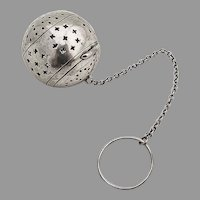 Ornate Pierced Tea Ball Watrous International Sterling Silver