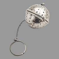 Tea Ball Gilt Interior French Co Sterling Silver 1930