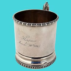 Beaded Border Childs Cup Mug Albert Coles Coin Silver Mono 1864