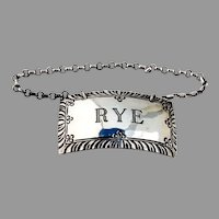 Stieff Rye Bottle Tag Label Engraved Rectangle Form Sterling Silver