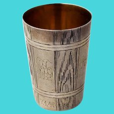 Russian Engraved Vodka Cup Shot 84 Standard Silver 1900 Mono