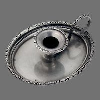 Small Oval Chamberstick Scroll Handle Sterling Silver 1940