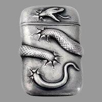 Repousse Snake Match Safe Sterling Silver 1900