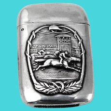 Scenic Horse Racing Match Safe Sterling Silver Mono Deitz