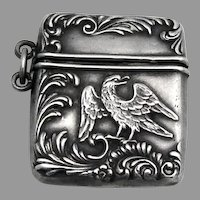 Repousse Eagle Stamp Case Foster Bailey Sterling Silver 1890