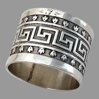 Greek Key Napkin Ring Hand Made Sterling Silver 1930 Mono E