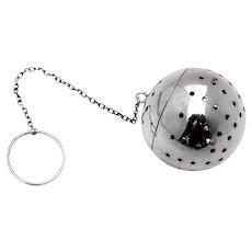 Large Tea Ball Hinged Lid Blackinton Sterling Silver
