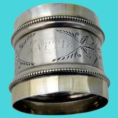 Beaded Engraved Napkin Ring Coin Silver Mono Kattie
