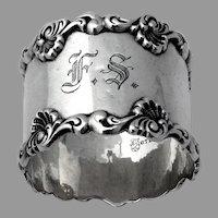 Shell Scroll Napkin Ring Towle Sterling Silver Mono FS Xmas 1903