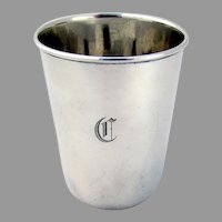 Tiffany Plain Small Beaker Sterling Silver 1920 Mono C